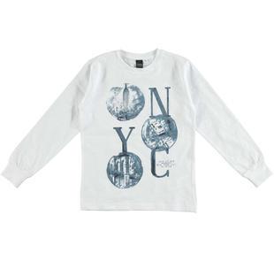 Maglietta girocollo 100% cotone stampa New York ido BIANCO-0113