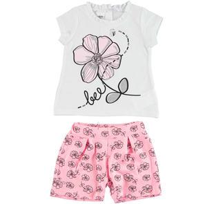 Completo 100% cotone con t-shirt e shorts ido BIANCO-ROSA-8002