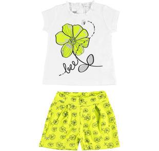 Completo 100% cotone con t-shirt e shorts ido BIANCO-VERDE-8036