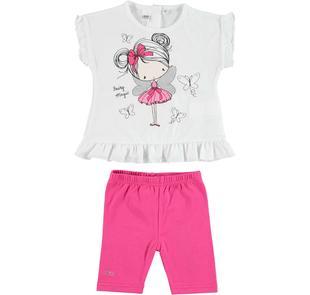 Completo bambina con t-shirt smanicata in cotone e leggings ido BIANCO-FUXIA-8043
