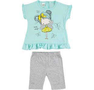 Completo bambina con t-shirt smanicata in cotone e leggings ido VERDE ACQUA-GRIGIO-8404