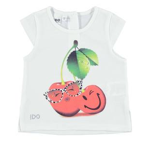 T-shirt in jersey 100% cotone con maxi ciligie ido BIANCO-0113