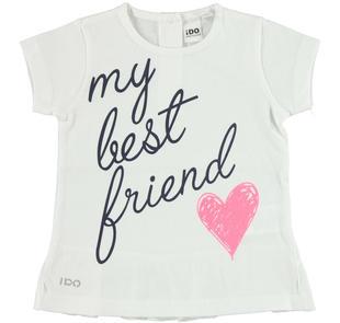 T-shirt con scritta e cuore glitter ido BIANCO-0113
