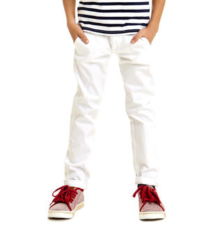 Pantalone modello chinos in twill stretch di cotone ido BIANCO-0113