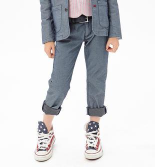 Pantalone modello chinos in elegante tessuto jacquard ido NAVY-3856