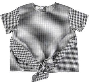 Camicia per bambina in cotone fantasia a quadri con nodo in vita ido NERO-0658