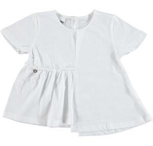 Sfiziosa t-shirt con inserto arricciato ido BIANCO-0113