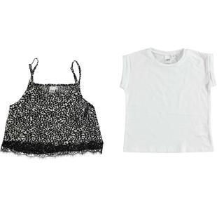 Completo bambina formato da top e t-shirt ido BIANCO-NERO-8057