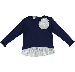 Maglietta in felpa stretch di cotone con inserto plissè ido NAVY-3854