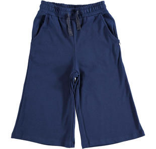 Pantalone coulotte in felpa leggera non garzata ido NAVY-3854
