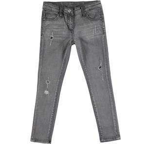 Jeans effetto delavato con strappi e toppe interne ido NERO-7991