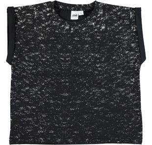 T-shirt 100% cotone stampa laminata effetto spruzzature ido NERO-SILVER-8393