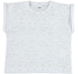 T-shirt 100% cotone stampa laminata effetto spruzzature ido BIANCO-ARGENTO-8406