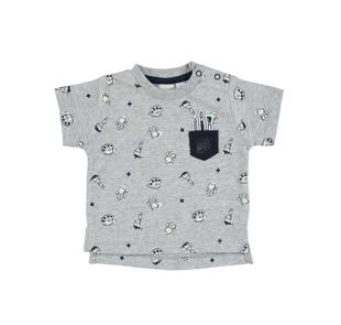 T-shirt piccolo artista 100% cotone ido GRIGIO MELANGE-NAVY-6BS6