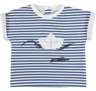 T-shirt rigata con piccola barchetta ido BIANCO-BLU-6DN1