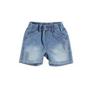 Pantalone corto in denim 100% cotone effetto delavato ido DENIM CHIARO-7113