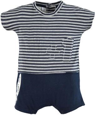 Pagliaccetto 100% cotone modello finta t-shirt a righe ido BLU-GRIGIO-8009