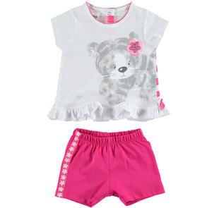 Colorato completo maxi t-shirt rigata e shorts ido BIANCO-FUXIA-8043