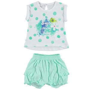 Completo 100% cotone t-shirt a pois con shorts ido BIANCO-VERDE ACQUA-8275