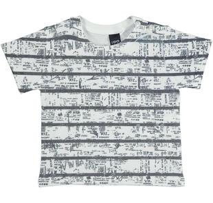T-shirt in cotone per bambino con particolare stampa ido BIANCO-0113