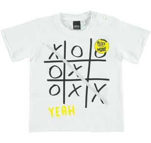 T-shirt con stampa in jersey di cotone ido BIANCO-0113