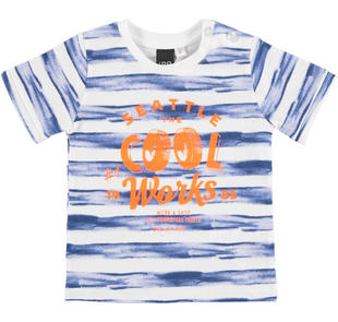 T-shirt fantasia rigata 100% cotone per bambino ido BIANCO-BLU-6CC3