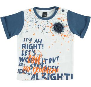 T-shirt 100% cotone con stampa colorata ido BIANCO-0113