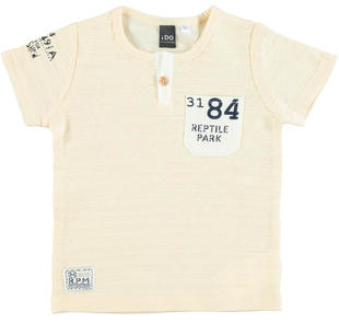 T-shirt in speciale tessuto 100% cotone con piccole righe in rilievo ido MILK-0111
