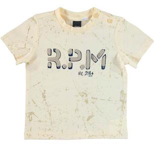T-shirt 100% cotone con stampa astratta per bambino ido ECRU'-BEIGE-6CC7
