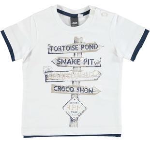 T-shirt 100% cotone stampa cartelli stradali ido ECRU'-0133