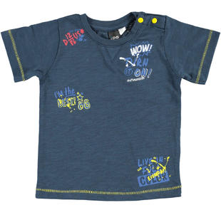 T-shirt 100% cotone con colorata stampa per bambino ido NAVY-3856