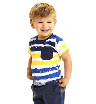 T-shirt 100% cotone con stampa effetto riga ido BIANCO-BLU-6CC9