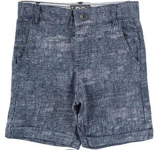 Pantalone corto 100% cotone con fantasia melange ido BIANCO-BLU-6BE1