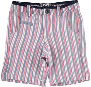 Pantalone con fantasia a strisce in felpa non garzata 100% cotone ido BIANCO-BLU-6CA4