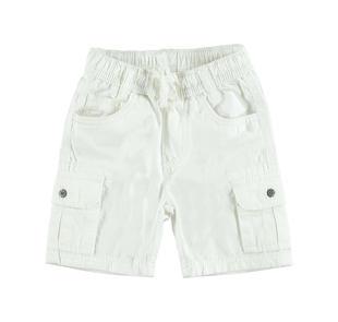 Pantalone corto modello cargo 100% cotone ido BIANCO-0113