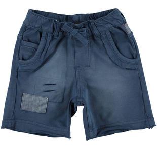 Pantalone corto 100% cotone con inserti denim ido NAVY-3856