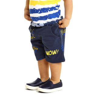 Pantalone corto in felpa non garzata 100% cotone ido BLU-GIALLO-6DG5