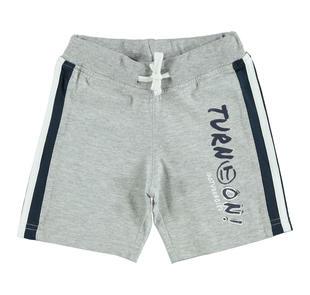 Pantalone corto in cotone con inserto sui fianchi ido GRIGIO MELANGE-8992
