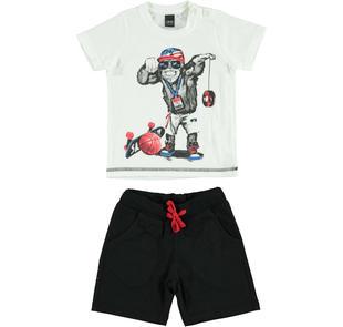 Simpatico e colorato completo t-shirt e pantalone corto in cotone ido BIANCO-NERO-8057