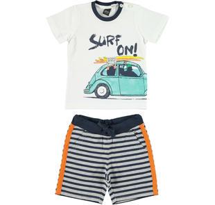 Completo 100% cotone t-shirt surf e pantalone corto rigato per bambino ido BIANCO-BLU-8020