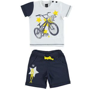 Completo t-shirt con bicicletta e pantalone corto 100% cotone ido BIANCO-BLU-8020