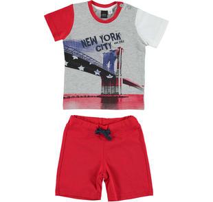 Grintoso e comodo completo t-shirt e pantalone ido GRIGIO-ROSSO-8016