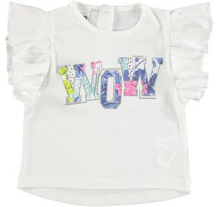 T-shirt smanicata 100% cotone con scritta floreale ido BIANCO-0113