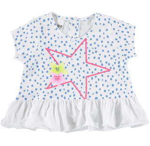 T-shirt con stella e fiori su stampa pois ido BIANCO-LIGHT BLUE-6CD1