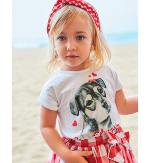 T-shirt bambina 100% cotone con cucciolo ido BIANCO-0113