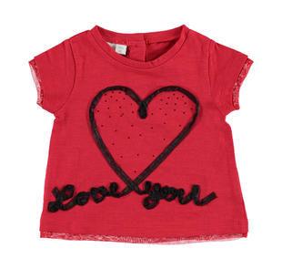 T-shirt 100% cotone con cuore e scritta Love you in organza ido ROSSO-2256