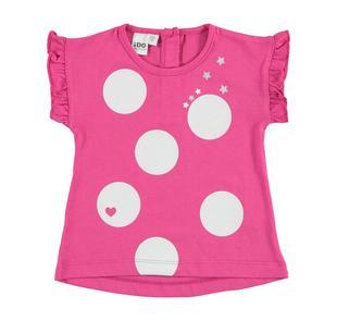 T-shirt smanicata 100% cotone con sfere glitter ido FUXIA-2438