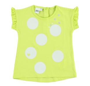 T-shirt smanicata 100% cotone con sfere glitter ido VERDE-5237