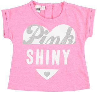 T-shirt con manica rimboccata e stampa con strass ido PINK FLUO-5828
