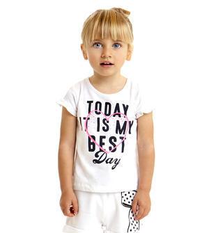 T-shirt bambina in cotone con rouches alle maniche ido BIANCO-0113